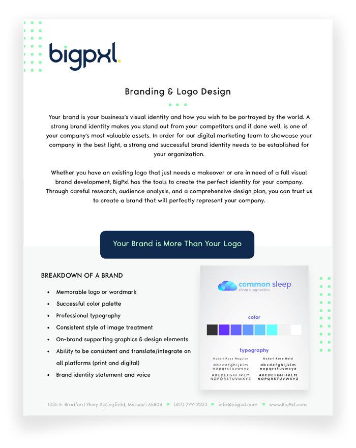 Branding and Logo Design One Sheet Preview