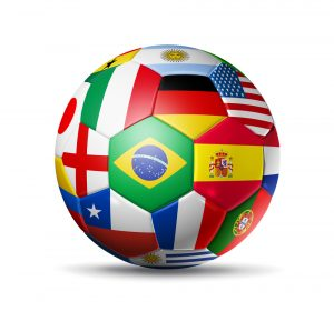 Soccer ball with flags on it